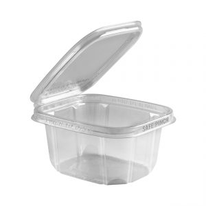 """Safe Pinch TE6516 - 6"""" x 5"""" Rectangle Hinged Container 16 oz Tamper Evident Clear Base With Clear Lid RPET Pinch To Open"""