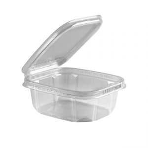 """Safe Pinch TE6512 - 6"""" x 5"""" Rectangle Hinged Container 12 oz Tamper Evident Clear Base With Clear Lid RPET Pinch To Open"""