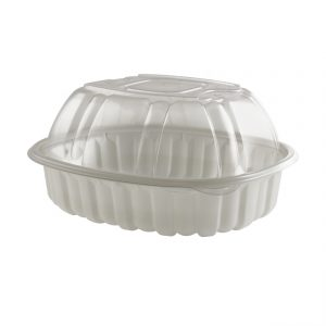 """Nature's Best 4110800 - 9.5"""" x 7.5"""" Large Roaster Microwavable Natural Base And Clear Anti-Fog High Polypropylene Dome Vented Lid Combo Pack"""