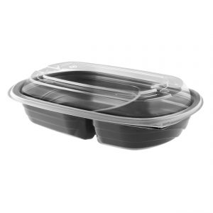 """MicroRaves CDM420-2-LH4LD - 9"""" x 6"""" Rectangle Food Container 8/12 oz Microwavable Two compartment Black Base And One compartment Clear Anti-Fog Polypropylene Lid Combo Pack"""