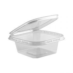 """Safe Pinch TE5508 - 5"""" Square Hinged Container 8 oz Tamper Evident Clear Base With Clear Lid RPET Pinch To Open"""