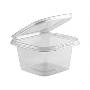 """Safe Pinch TE5512 - 5"""" Square Hinged Container 12 oz Tamper Evident Clear Base With Clear Lid Pinch To Open"""