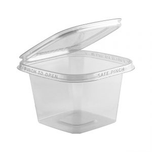 """Safe Pinch TE5516 - 5"""" Square Hinged Container 16 oz Tamper Evident Clear Base With Clear Lid RPET Pinch To Open"""