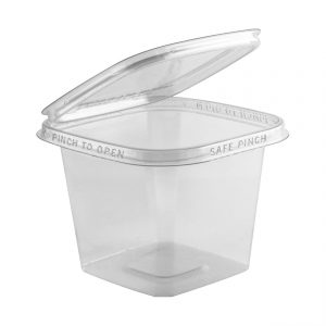 """Safe Pinch TE5524 - 5"""" Square Hinged Container 24 oz Tamper Evident Clear Base With Clear Lid Pinch To Open"""