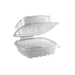 """Culinary Basics CB6611C - 6"""" x 6"""" Square Hinged Clamshell Container 18 oz Microwavable One Compartment Clear Base With One Compartment Clear Anti-Fog Tear-Away Lid."""
