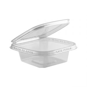 """Safe Pinch TE5506 - 5"""" Square Hinged Container 6 oz Tamper Evident Clear Base With Clear Lid Pinch To Open"""