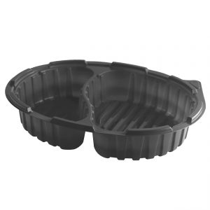 """Crisp Food Technologies CF1942 - 11"""" x 8.5"""" Oval Polypropylene Two Compartment Container 26/16 oz Microwavable Black Base"""