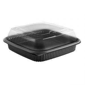 """Culinary Squares CDCS85321-CS85LHX1 - 8"""" Square Polypropylene 36 oz Microwavable One Compartment Black Base And One Compartment Clear Anti-Fog Deep Lid Combo Pack"""