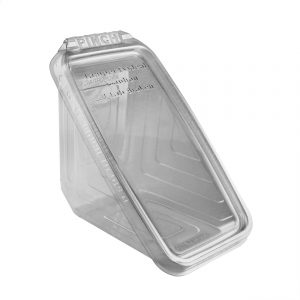 """Safe Pinch TE74SW - 7"""" x 4"""" Hinged Container 16 oz Tamper Evident Clear Base With Clear Lid Sandwich Wedge Pinch To Open"""