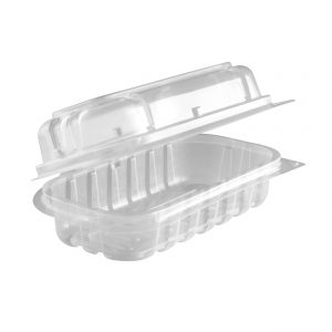 """MicroRaves HD632 - 6"""" x 2"""" Rectangle Hinged Clamshell Container 12 oz Microwavable Clear Base With Clear Anti-Fog Lid, Side Dish/Hot Dog"""