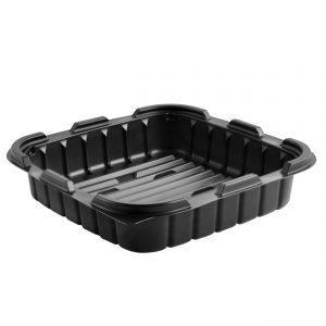 "Crisp Food Technologies CF85321 8"" Square PolypropyleneContainer 33 oz Microwavable One Compartment Black Base"