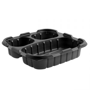 """Crisp Food Technologies CF85323 - 8"""" Square Container 19/6/6 oz Microwavable Polypropylene Three Compartment Black"""