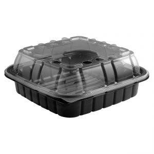 """Crisp Food Technologies CF85321-CFL85 - 8"""" Square 33 oz Microwavable One Compartment Black Base And Microwavable One Compartment Clear Lid Anti-Fog Polypropylene Combo Pack"""