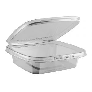 """Safe Pinch TE6612 - 6"""" Square Hinged Container 12 oz Tamper Evident Clear Base With Clear Lid RPET Pinch To Open"""