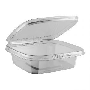"""Safe Pinch TE6616 - 6"""" Square Hinged Container 16 oz Tamper Evident Clear Base With Clear Lid RPET Pinch To Open"""