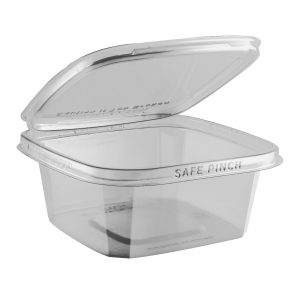"""Safe Pinch TE6624 - 6"""" Square Hinged Container 24 oz Tamper Evident Clear Base With Clear Lid RPET Pinch To Open"""
