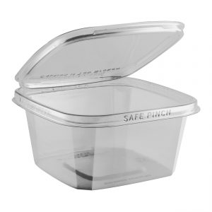 """Safe Pinch TE6632 - 6"""" Square Hinged Container 32 oz Tamper Evident Clear Base With Clear Lid RPET Pinch To Open"""