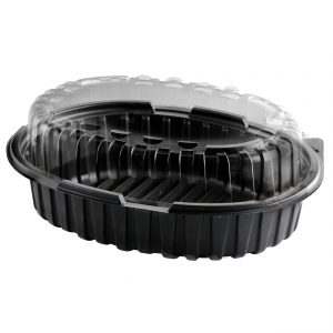 """Crisp Food Technologies CF1948-CF1900L- 11"""" x 8.5"""" Oval 48 oz Microwavable Polypropylene One Compartment Black Base and One Compartment Lid Clear Anti-Fog Combo Pack"""