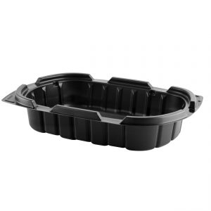 """Crisp Food Technologies CF424 - 9"""" x 6"""" Rectangle Container 24 oz Microwavable One Compartment Black Base"""