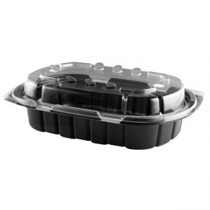 """Crisp Food Technologies CDCF424-CFL4 - 9"""" x 6"""" Rectangle 24 oz Microwavable One Compartment Black Base And Microwavable One Compartment Clear Lid Anti-Fog Polypropylene Combo Pack"""