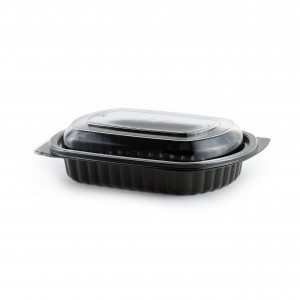 """MicroRaves CDMW416-L4016 - 8"""" x 6"""" Rectangle Combo Pack 16 oz Microwavable Black Base And Clear Anti-Fog PETE Lid"""