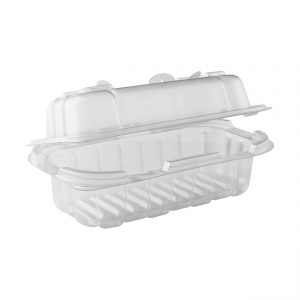 """Crisp Food Technologies CF6311C - 7.5"""" x 4.5"""" Rectangle Hinged Clamshell Container 14 oz Microwavable One Compartment Clear Base With One Compartment Clear Lid Anti-Fog"""