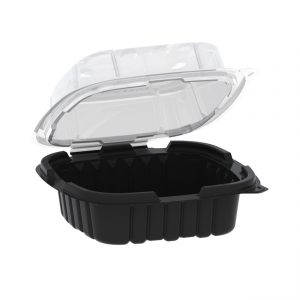 """Crisp Food Technologies CF6611- 6"""" x 6"""" Square Hinged Container 18 oz- Microwavable 1-Comp. Black Base- With 1-Comp. Clear Anti-Fog Vented Lid"""