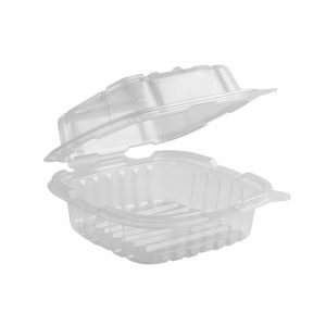 """Crisp Food Technologies CF6611C - 6"""" x 6"""" Hinged One Compartment Polypropylene Container 18 oz Microwavable Clear Base Clear Anti-Fog Lid"""