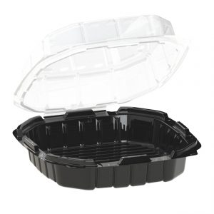"""Crisp Food Technologies CF9911 - 9"""" Square Hinged Clamshell Container 32 oz Microwavable One Compartment Black Base And Microwavable One Compartment Polypropylene Clear Lid Anti-Fog"""