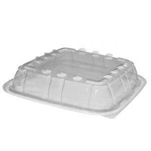 "Crisp Food Technologies CFL85 - 8.5"" Square Lid Microwavable Clear Anti-Fog Polypropylene Fits CF85321, CF85323"