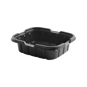 """Crisp Food Technologies CF616 - 7"""" x 6"""" Rectangle Container 14 oz Microwavable Polypropylene One Compartment Black Base"""