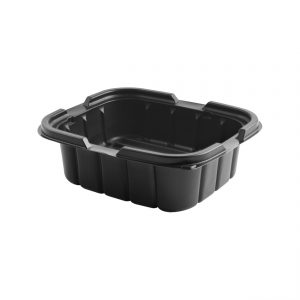 """Crisp Food Technologies CF620 - 7"""" x 6"""" Rectangle Container 18 oz Microwavable Polypropylene One Compartment Black Base"""
