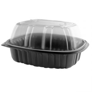 """Nature's Best 4110305 - 10.5"""" x 8"""" Extra-Large Oval Roaster Microwavable Black Base And Clear Anti-Fog Polypropylene Lid Combo Pack"""