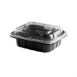 """Crisp Food Technologies CF616-CFL6 - 7"""" x 6"""" Rectangle Combo Pack 14 oz Microwavable One Compartment Black Base And Microwavable One Compartment Clear Lid Anti-Fog Polypropylene Combo Pack"""