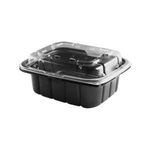 """Crisp Food Technologies CF620/CFL6 - 7"""" x 6"""" Rectangle 18 oz Microwavable One Compartment Black Base And Microwavable Polypropylene One Compartment Clear Lid Anti-Fog Combo Pack"""